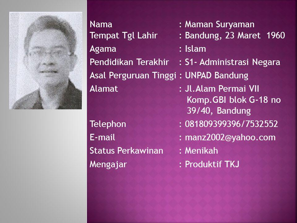 Nama: Maman Suryaman Tempat Tgl Lahir: Bandung, 23 Maret 1960 Agama : Islam Pendidikan Terakhir: S1- Administrasi Negara Asal Perguruan Tinggi : UNPAD