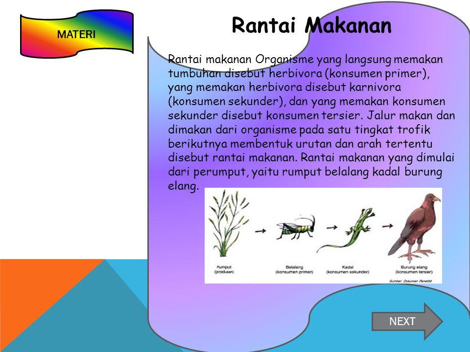 MATERI Rantai Makanan Rantai makanan Organisme yang langsung memakan tumbuhan disebut herbivora (konsumen primer), yang memakan herbivora disebut karnivora (konsumen sekunder), dan yang memakan konsumen sekunder disebut konsumen tersier.