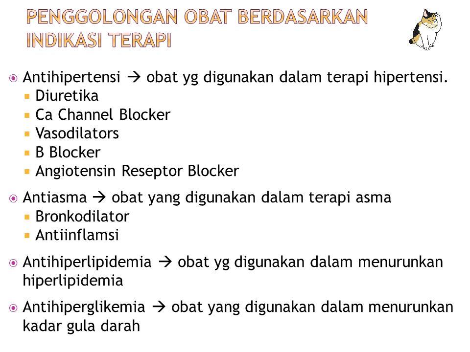  Antihipertensi  obat yg digunakan dalam terapi hipertensi.  Diuretika  Ca Channel Blocker  Vasodilators  B Blocker  Angiotensin Reseptor Block
