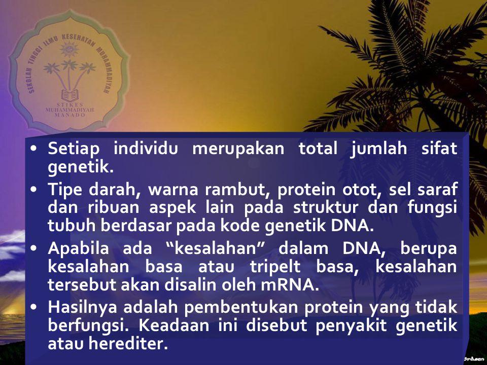 Setiap individu merupakan total jumlah sifat genetik.