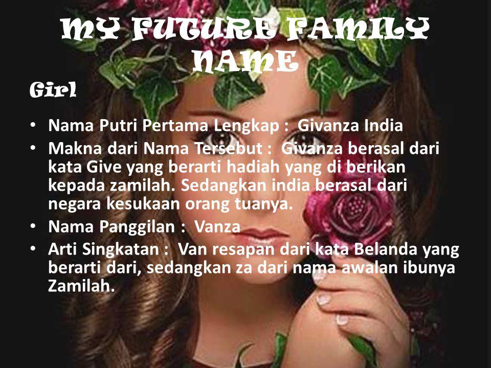 MY FUTURE FAMILY NAME Girl Nama Putri Pertama Lengkap : Givanza India Makna dari Nama Tersebut : Givanza berasal dari kata Give yang berarti hadiah yang di berikan kepada zamilah.
