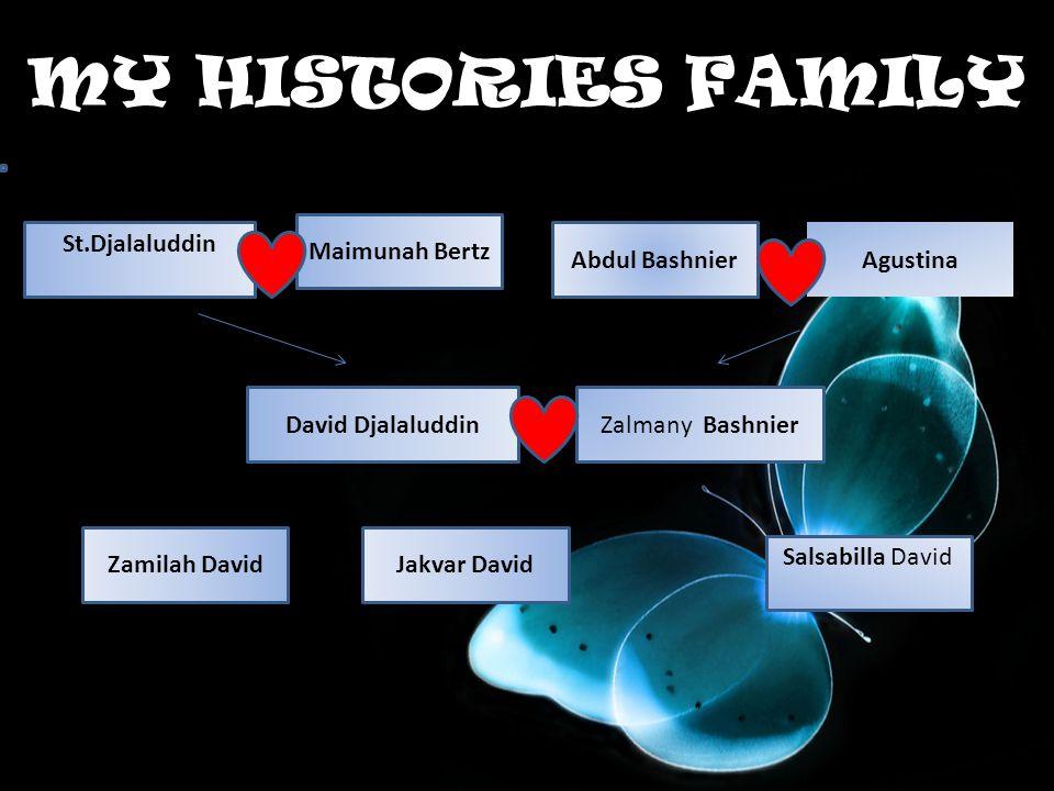 MY HISTORIES FAMILY St.Djalaluddin Maimunah Bertz Salsabilla David Jakvar DavidZamilah David David DjalaluddinZalmany Bashnier Abdul Bashnier Agustina Maimunnah bertz 
