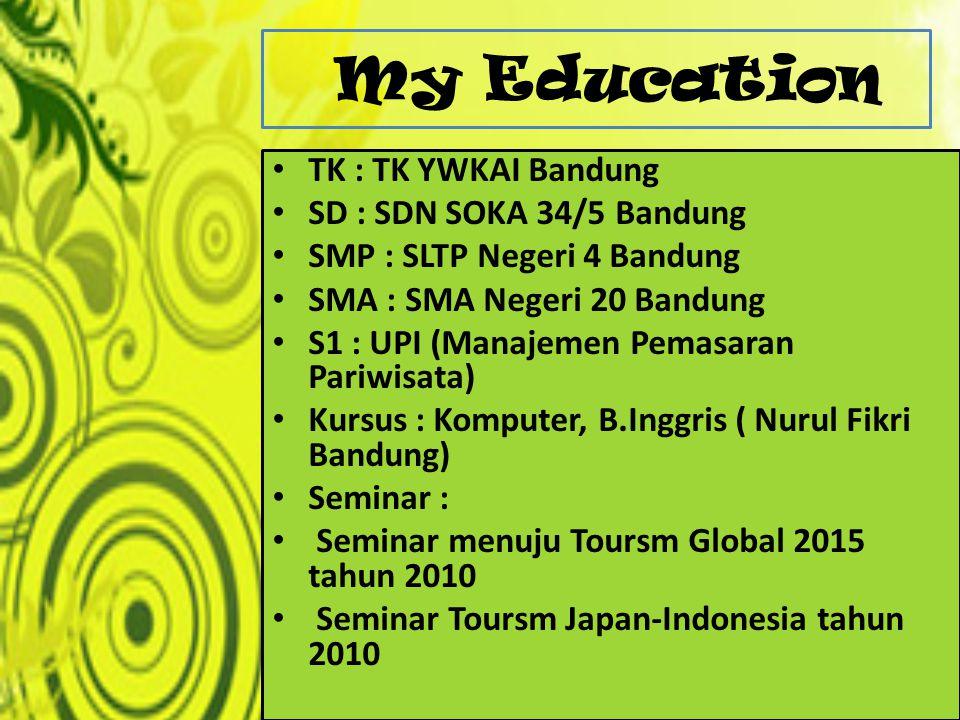 My Education TK : TK YWKAI Bandung SD : SDN SOKA 34/5 Bandung SMP : SLTP Negeri 4 Bandung SMA : SMA Negeri 20 Bandung S1 : UPI (Manajemen Pemasaran Pa