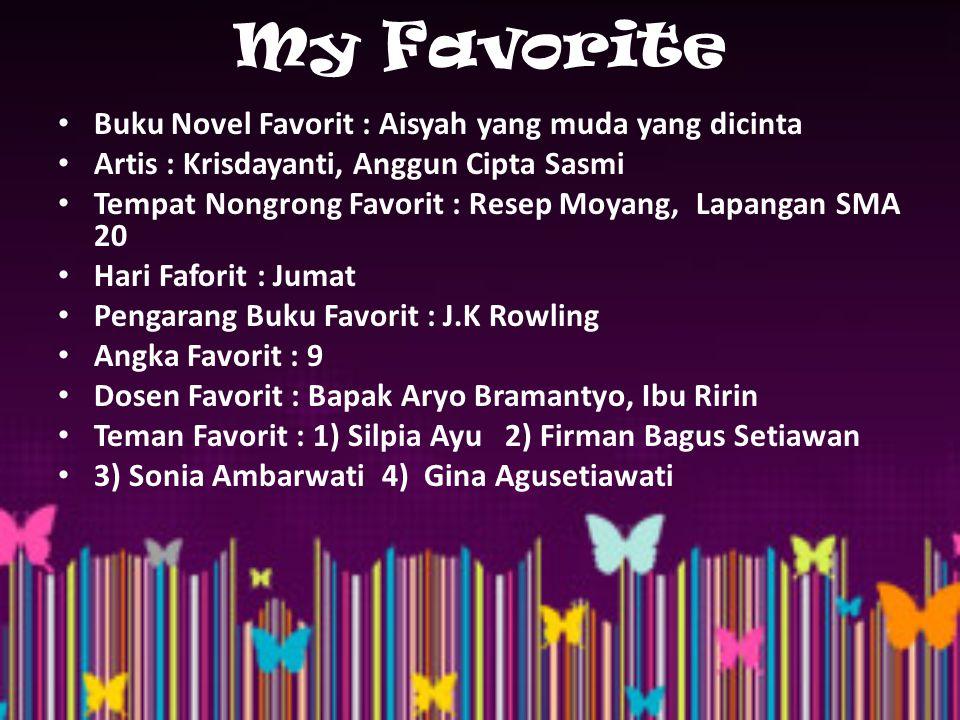 My Favorite Buku Novel Favorit : Aisyah yang muda yang dicinta Artis : Krisdayanti, Anggun Cipta Sasmi Tempat Nongrong Favorit : Resep Moyang, Lapanga