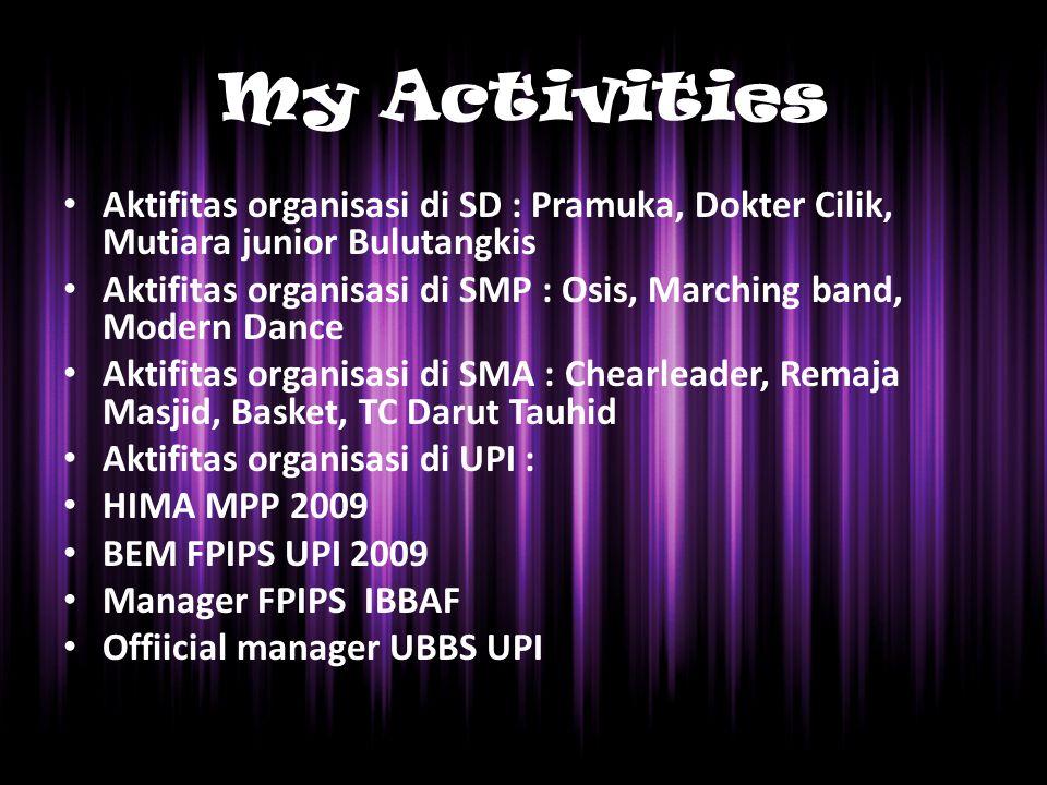 My Activities Aktifitas organisasi di SD : Pramuka, Dokter Cilik, Mutiara junior Bulutangkis Aktifitas organisasi di SMP : Osis, Marching band, Modern Dance Aktifitas organisasi di SMA : Chearleader, Remaja Masjid, Basket, TC Darut Tauhid Aktifitas organisasi di UPI : HIMA MPP 2009 BEM FPIPS UPI 2009 Manager FPIPS IBBAF Offiicial manager UBBS UPI