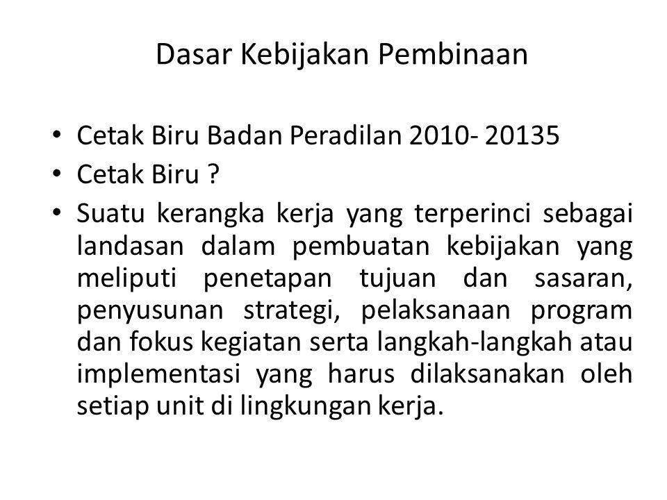 Dasar Kebijakan Pembinaan Cetak Biru Badan Peradilan 2010- 20135 Cetak Biru .