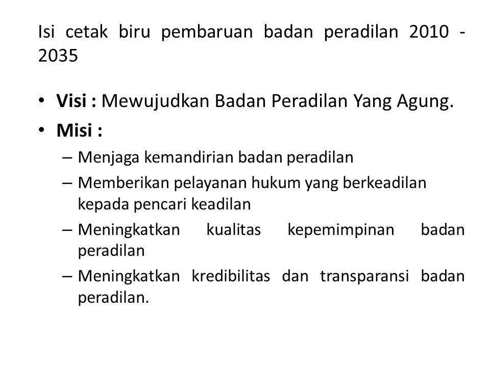 Isi cetak biru pembaruan badan peradilan 2010 - 2035 Visi : Mewujudkan Badan Peradilan Yang Agung.