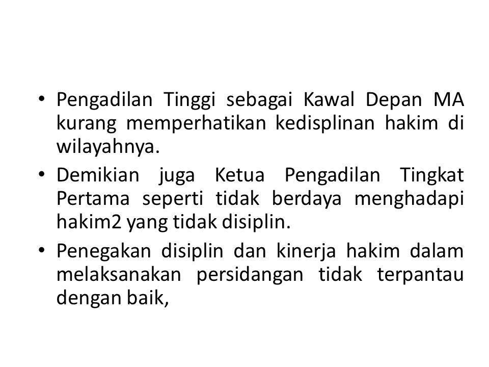 Pengadilan Tinggi sebagai Kawal Depan MA kurang memperhatikan kedisplinan hakim di wilayahnya.