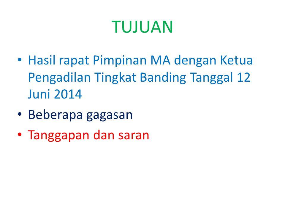 TUJUAN Hasil rapat Pimpinan MA dengan Ketua Pengadilan Tingkat Banding Tanggal 12 Juni 2014 Beberapa gagasan Tanggapan dan saran