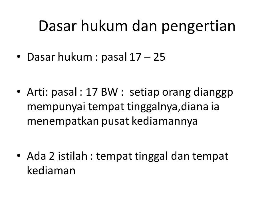 Dasar hukum dan pengertian Dasar hukum : pasal 17 – 25 Arti: pasal : 17 BW : setiap orang dianggp mempunyai tempat tinggalnya,diana ia menempatkan pusat kediamannya Ada 2 istilah : tempat tinggal dan tempat kediaman