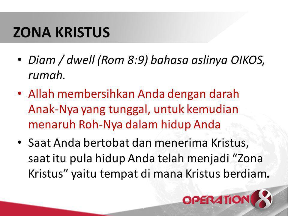 ZONA KRISTUS Diam / dwell (Rom 8:9) bahasa aslinya OIKOS, rumah.