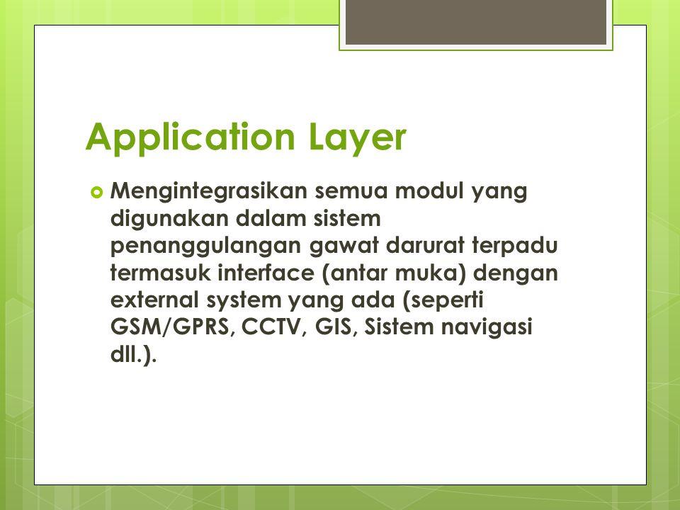 Application Layer  Mengintegrasikan semua modul yang digunakan dalam sistem penanggulangan gawat darurat terpadu termasuk interface (antar muka) deng