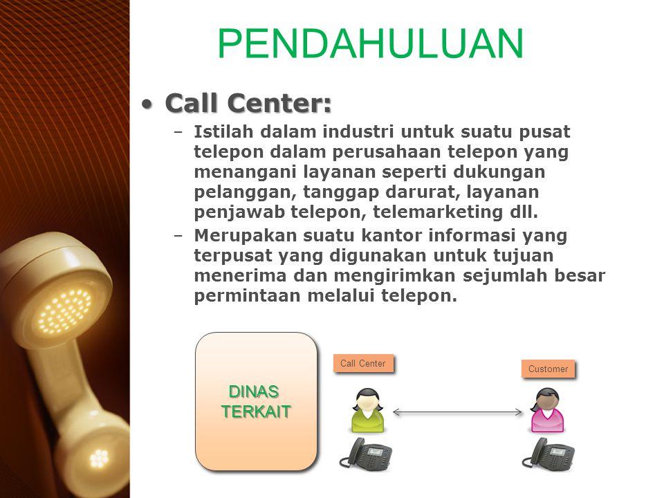 Call Center:Call Center: –Istilah dalam industri untuk suatu pusat telepon dalam perusahaan telepon yang menangani layanan seperti dukungan pelanggan,