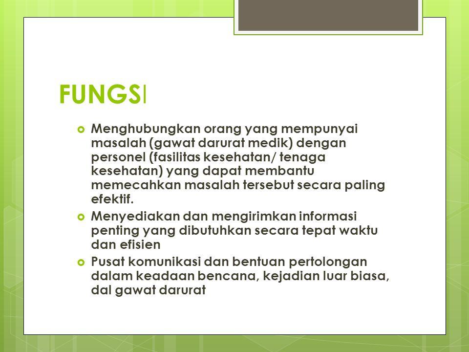 FUNGS I  Menghubungkan orang yang mempunyai masalah (gawat darurat medik) dengan personel (fasilitas kesehatan/ tenaga kesehatan) yang dapat membantu