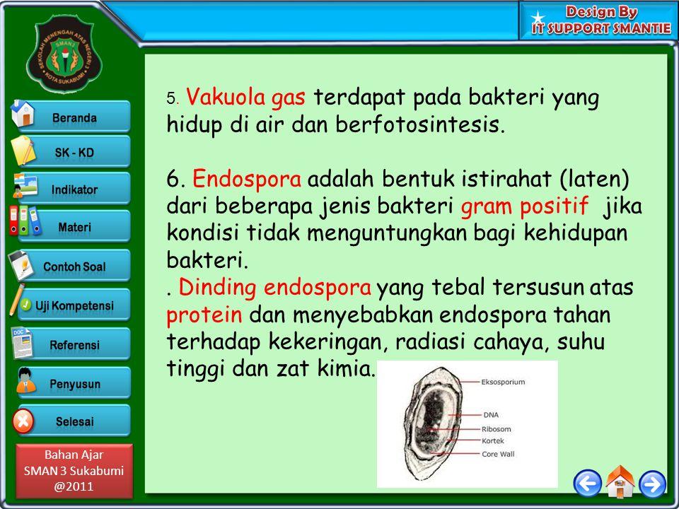 Bahan Ajar SMAN 3 Sukabumi @2011 Bahan Ajar SMAN 3 Sukabumi @2011 5. Vakuola gas terdapat pada bakteri yang hidup di air dan berfotosintesis. 6. Endos