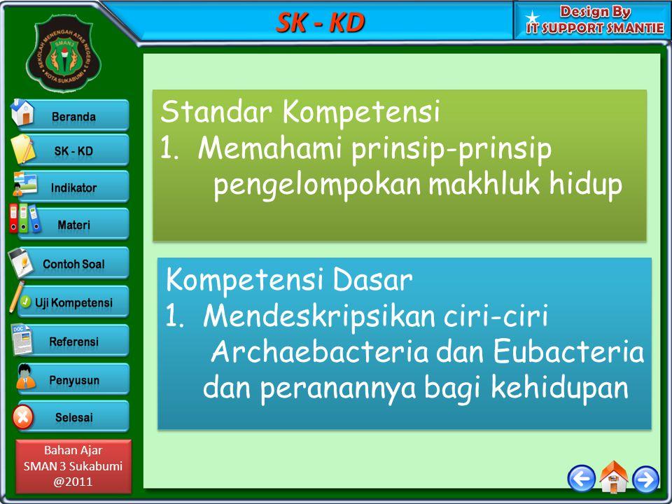 Bahan Ajar SMAN 3 Sukabumi @2011 Bahan Ajar SMAN 3 Sukabumi @2011 SK - KD Standar Kompetensi 1.Memahami prinsip-prinsip pengelompokan makhluk hidup St