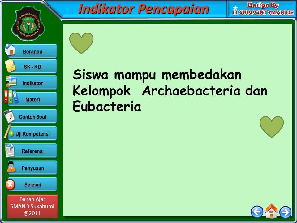 Bahan Ajar SMAN 3 Sukabumi @2011 Bahan Ajar SMAN 3 Sukabumi @2011 Indikator Pencapaian Siswa mampu membedakan Kelompok Archaebacteria dan Eubacteria
