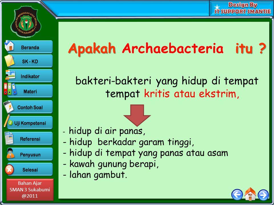 Bahan Ajar SMAN 3 Sukabumi @2011 Bahan Ajar SMAN 3 Sukabumi @2011 Apakah itu ? Apakah Archaebacteria itu ? bakteri-bakteri yang hidup di tempat tempat