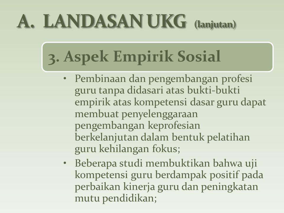 3. Aspek Empirik Sosial Pembinaan dan pengembangan profesi guru tanpa didasari atas bukti-bukti empirik atas kompetensi dasar guru dapat membuat penye