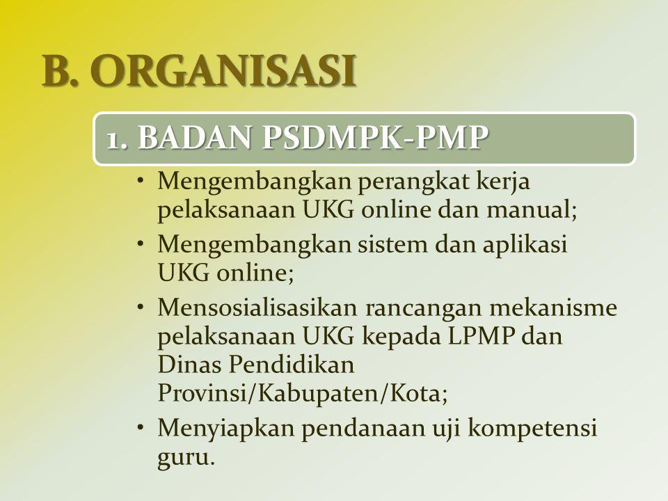 1. BADAN PSDMPK-PMP Mengembangkan perangkat kerja pelaksanaan UKG online dan manual; Mengembangkan sistem dan aplikasi UKG online; Mensosialisasikan r