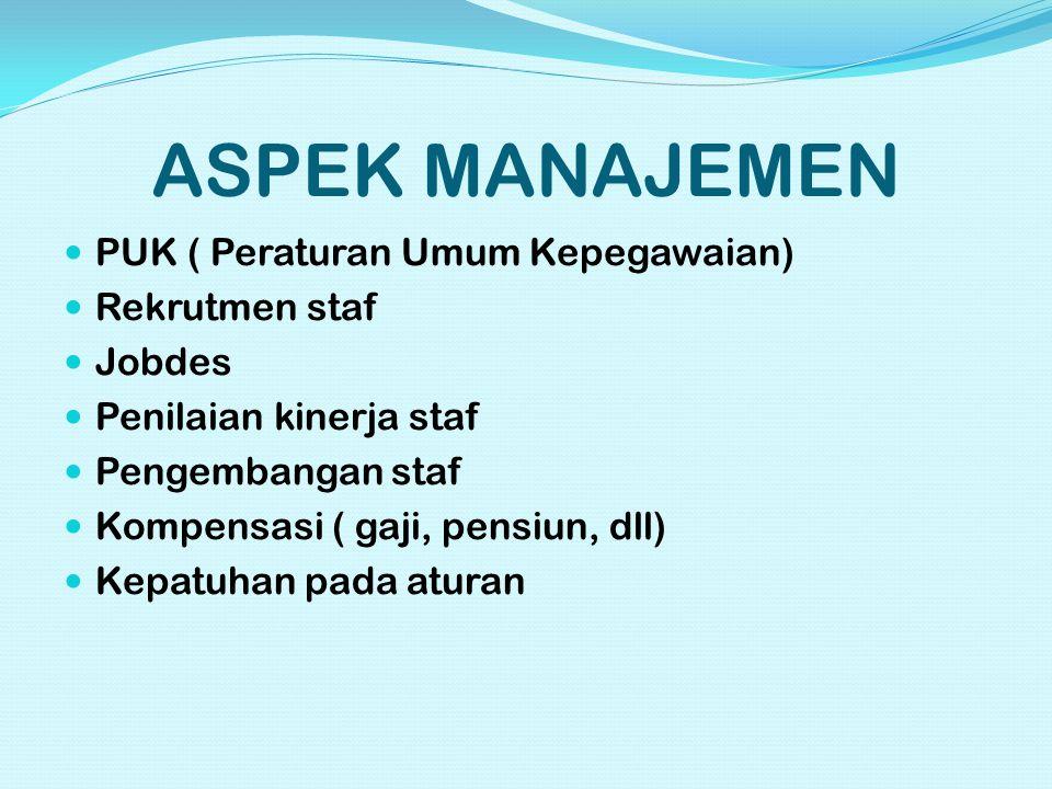 ASPEK MANAJEMEN PUK ( Peraturan Umum Kepegawaian) Rekrutmen staf Jobdes Penilaian kinerja staf Pengembangan staf Kompensasi ( gaji, pensiun, dll) Kepatuhan pada aturan