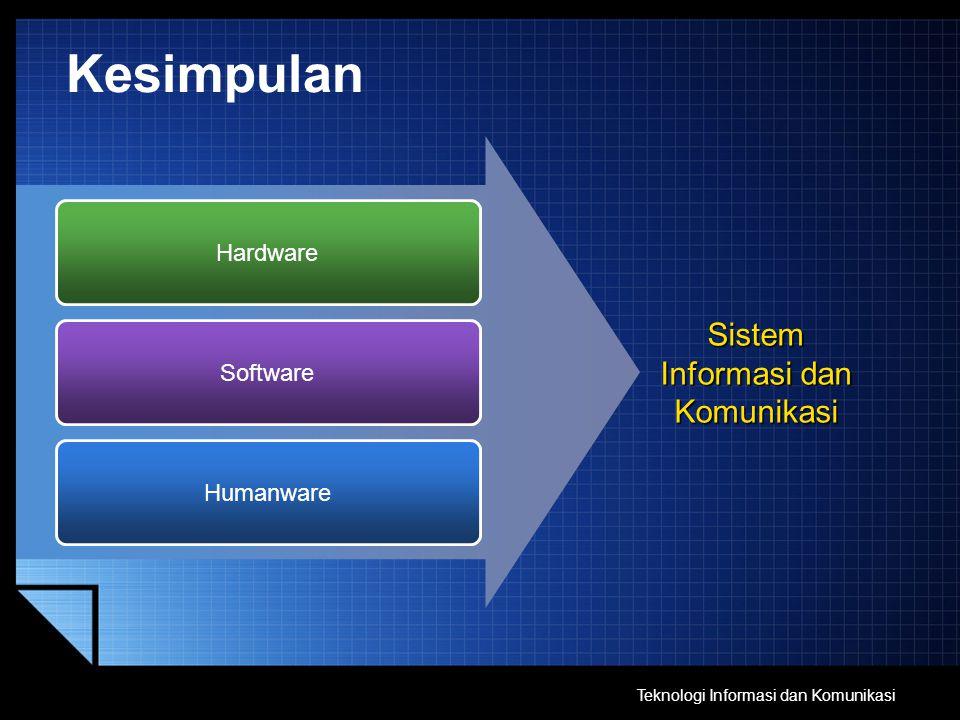 Kesimpulan Hardware Software Humanware Sistem Informasi dan Komunikasi Teknologi Informasi dan Komunikasi