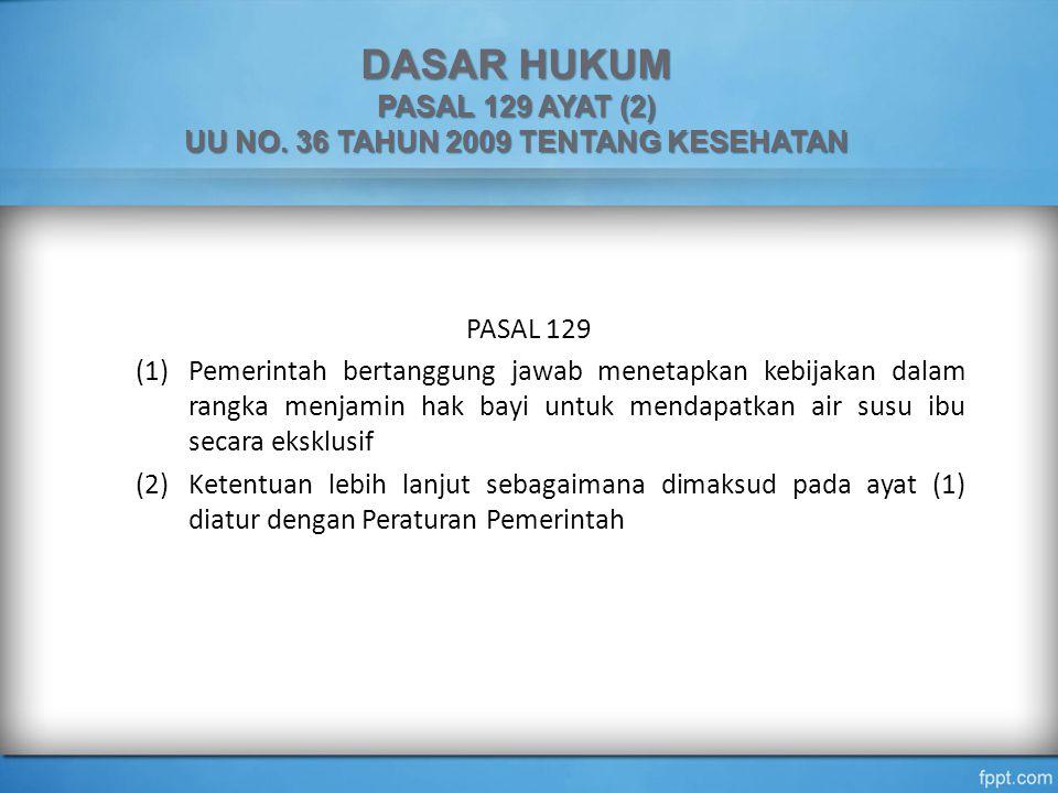 DASAR HUKUM PASAL 129 AYAT (2) UU NO. 36 TAHUN 2009 TENTANG KESEHATAN PASAL 129 (1)Pemerintah bertanggung jawab menetapkan kebijakan dalam rangka menj