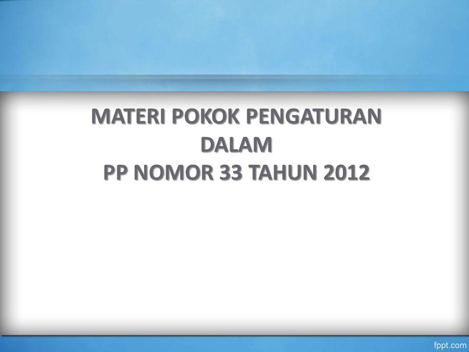 MATERI POKOK PENGATURAN DALAM PP NOMOR 33 TAHUN 2012