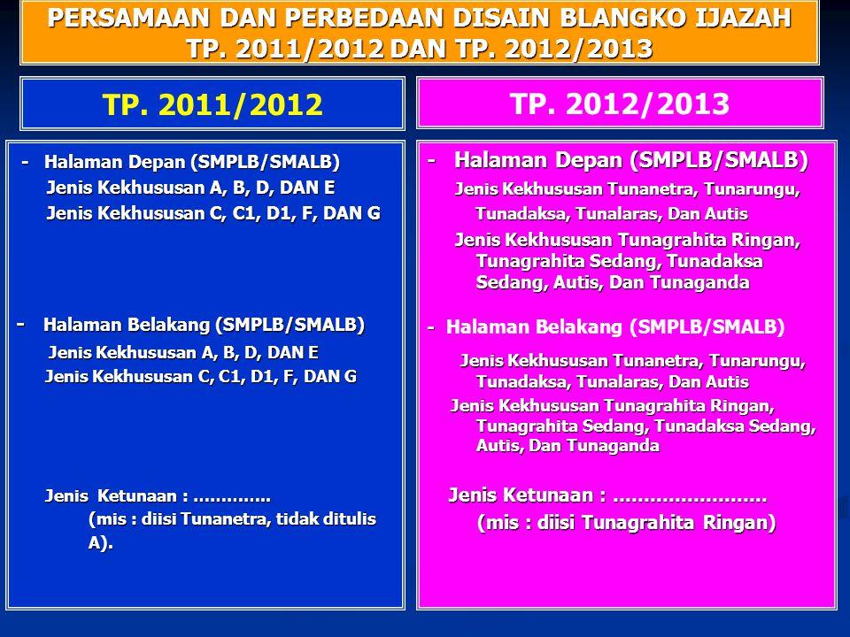 PERSAMAAN DAN PERBEDAAN DISAIN BLANGKO IJAZAH TP. 2011/2012 DAN TP. 2012/2013 TP. 2012/2013 TP. 2011/2012 - Halaman Depan (SMPLB/SMALB) - Halaman Depa