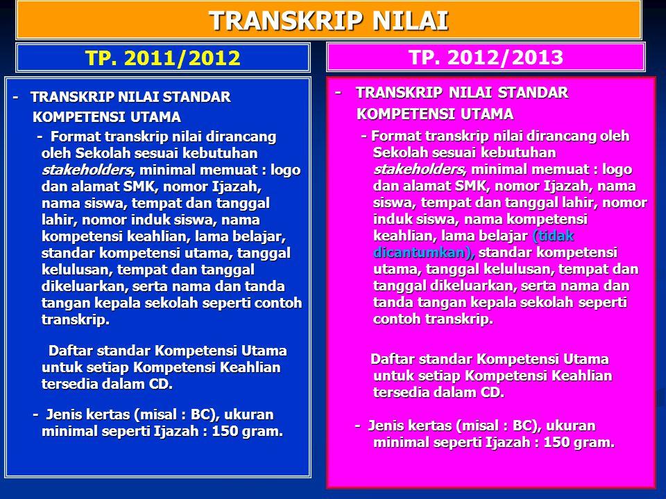 TRANSKRIP NILAI TP. 2012/2013 TP. 2011/2012 - TRANSKRIP NILAI STANDAR KOMPETENSI UTAMA KOMPETENSI UTAMA - Format transkrip nilai dirancang oleh Sekola