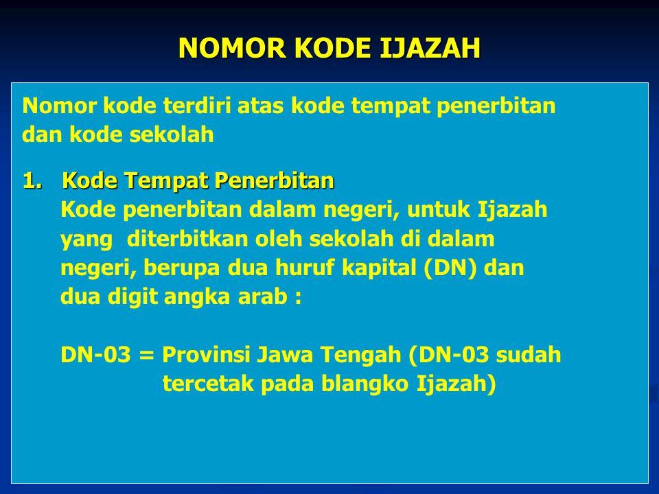 NOMOR KODE IJAZAH Nomor kode terdiri atas kode tempat penerbitan dan kode sekolah 1. Kode Tempat Penerbitan Kode penerbitan dalam negeri, untuk Ijazah