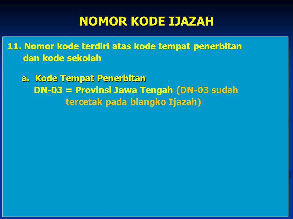 NOMOR KODE IJAZAH 11. Nomor kode terdiri atas kode tempat penerbitan dan kode sekolah a. Kode Tempat Penerbitan a. Kode Tempat Penerbitan DN-03 = Prov