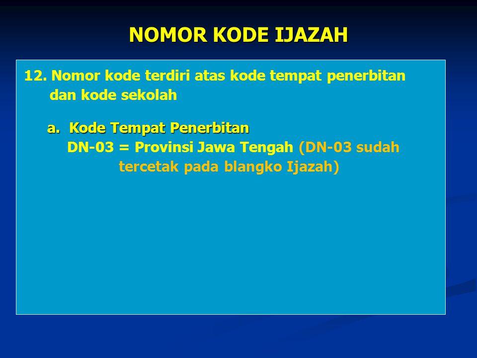NOMOR KODE IJAZAH 12. Nomor kode terdiri atas kode tempat penerbitan dan kode sekolah a. Kode Tempat Penerbitan a. Kode Tempat Penerbitan DN-03 = Prov