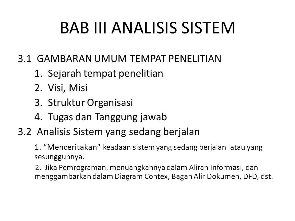 BAB III ANALISIS SISTEM 3.1 GAMBARAN UMUM TEMPAT PENELITIAN 1.