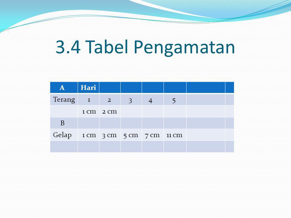 3.4 Tabel Pengamatan AHari Terang 1 2 3 4 5 1 cm2 cm B Gelap 1 cm3 cm5 cm7 cm11 cm