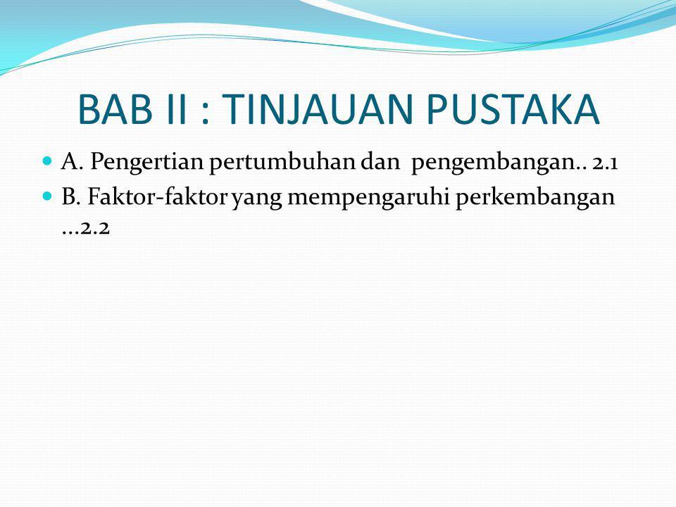 BAB II : TINJAUAN PUSTAKA A. Pengertian pertumbuhan dan pengembangan..