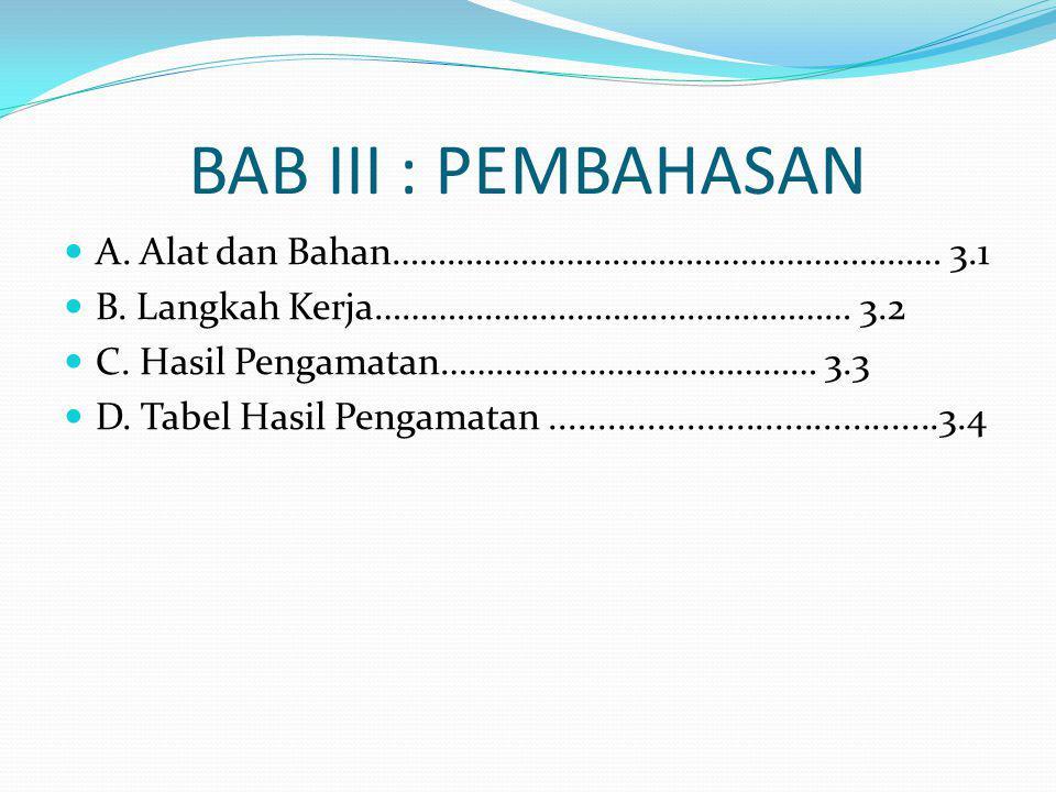 BAB III : PEMBAHASAN A. Alat dan Bahan…………………………………………………… 3.1 B.