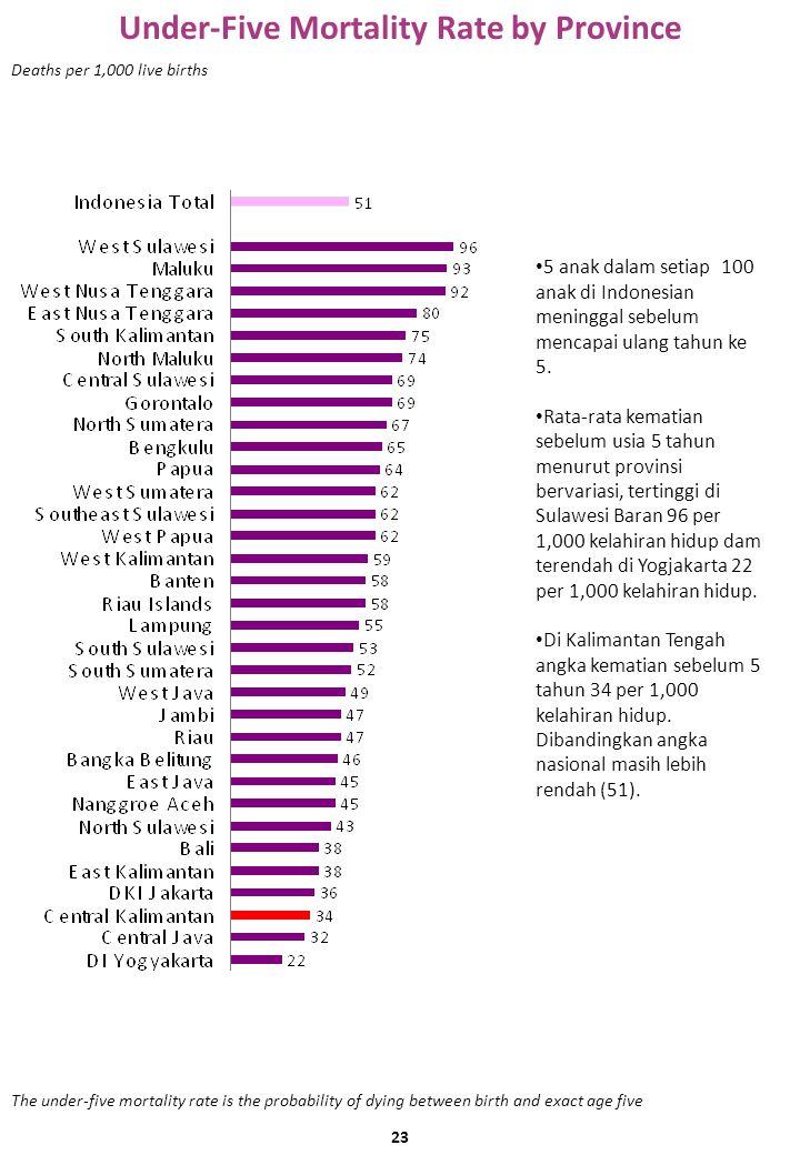 Under-Five Mortality Rate by Province Deaths per 1,000 live births 5 anak dalam setiap 100 anak di Indonesian meninggal sebelum mencapai ulang tahun ke 5.