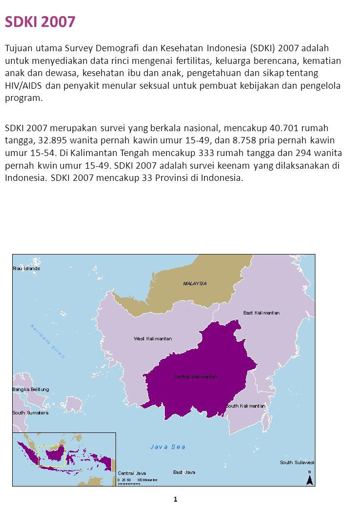 SDKI 2007 Tujuan utama Survey Demografi dan Kesehatan Indonesia (SDKI) 2007 adalah untuk menyediakan data rinci mengenai fertilitas, keluarga berencana, kematian anak dan dewasa, kesehatan ibu dan anak, pengetahuan dan sikap tentang HIV/AIDS dan penyakit menular seksual untuk pembuat kebijakan dan pengelola program.