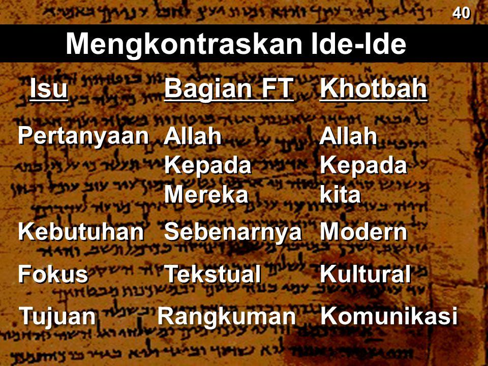 Bagian FT Mengkontraskan Ide-Ide Khotbah Allah Kepada Mereka Allah Kepada Mereka Allah Kepada kita Allah Kepada kita Sebenarnya Modern Tekstual Kultur