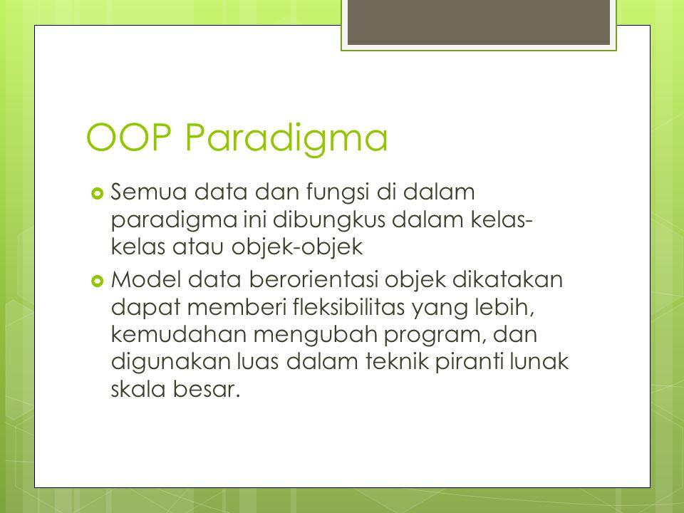 OOP Paradigma  Semua data dan fungsi di dalam paradigma ini dibungkus dalam kelas- kelas atau objek-objek  Model data berorientasi objek dikatakan d