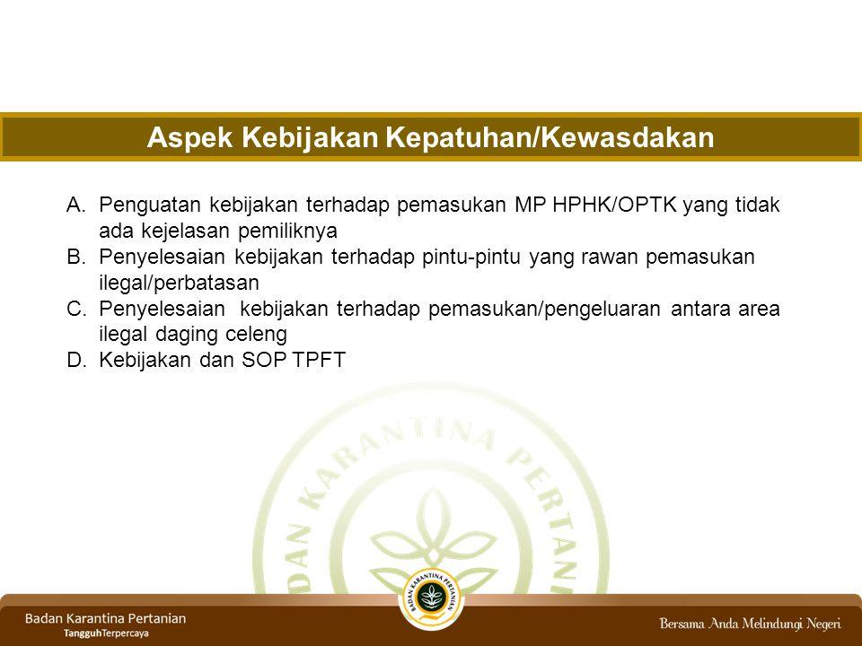 A.Penguatan kebijakan terhadap pemasukan MP HPHK/OPTK yang tidak ada kejelasan pemiliknya B.Penyelesaian kebijakan terhadap pintu-pintu yang rawan pemasukan ilegal/perbatasan C.Penyelesaian kebijakan terhadap pemasukan/pengeluaran antara area ilegal daging celeng D.Kebijakan dan SOP TPFT Aspek Kebijakan Kepatuhan/Kewasdakan