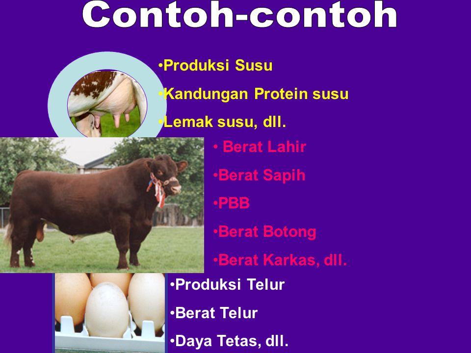 Berat Lahir Berat Sapih PBB Berat Botong Berat Karkas, dll. Produksi Susu Kandungan Protein susu Lemak susu, dll. Produksi Telur Berat Telur Daya Teta