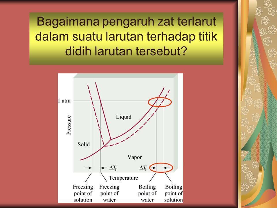 Bagaimana pengaruh zat terlarut dalam suatu larutan terhadap titik didih larutan tersebut?