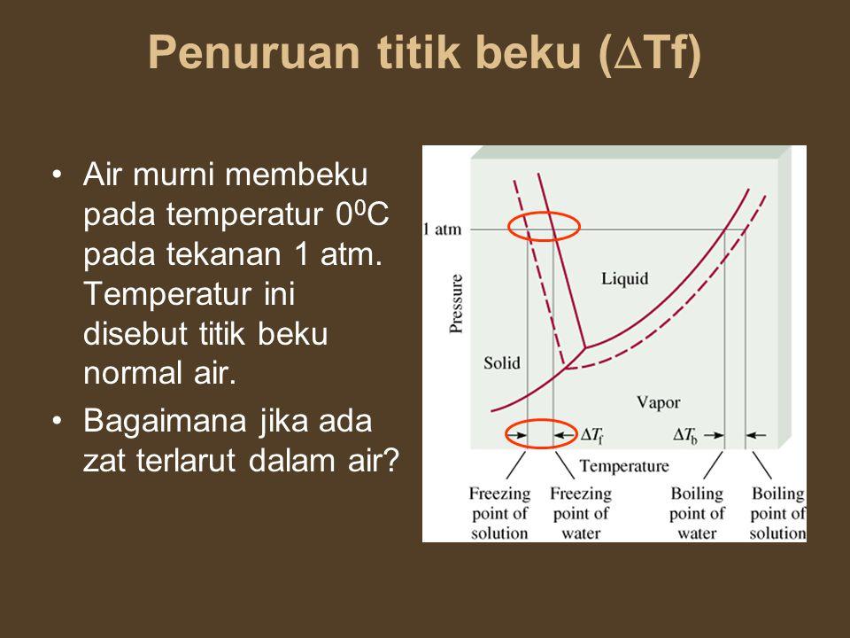 Penuruan titik beku (  Tf) Air murni membeku pada temperatur 0 0 C pada tekanan 1 atm. Temperatur ini disebut titik beku normal air. Bagaimana jika a