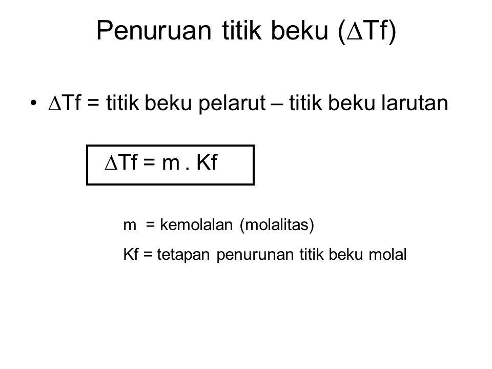 Penuruan titik beku (  Tf)  Tf = titik beku pelarut – titik beku larutan  Tf = m. Kf m = kemolalan (molalitas) Kf = tetapan penurunan titik beku mo
