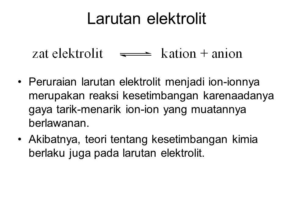 Larutan elektrolit Peruraian larutan elektrolit menjadi ion-ionnya merupakan reaksi kesetimbangan karenaadanya gaya tarik-menarik ion-ion yang muatann