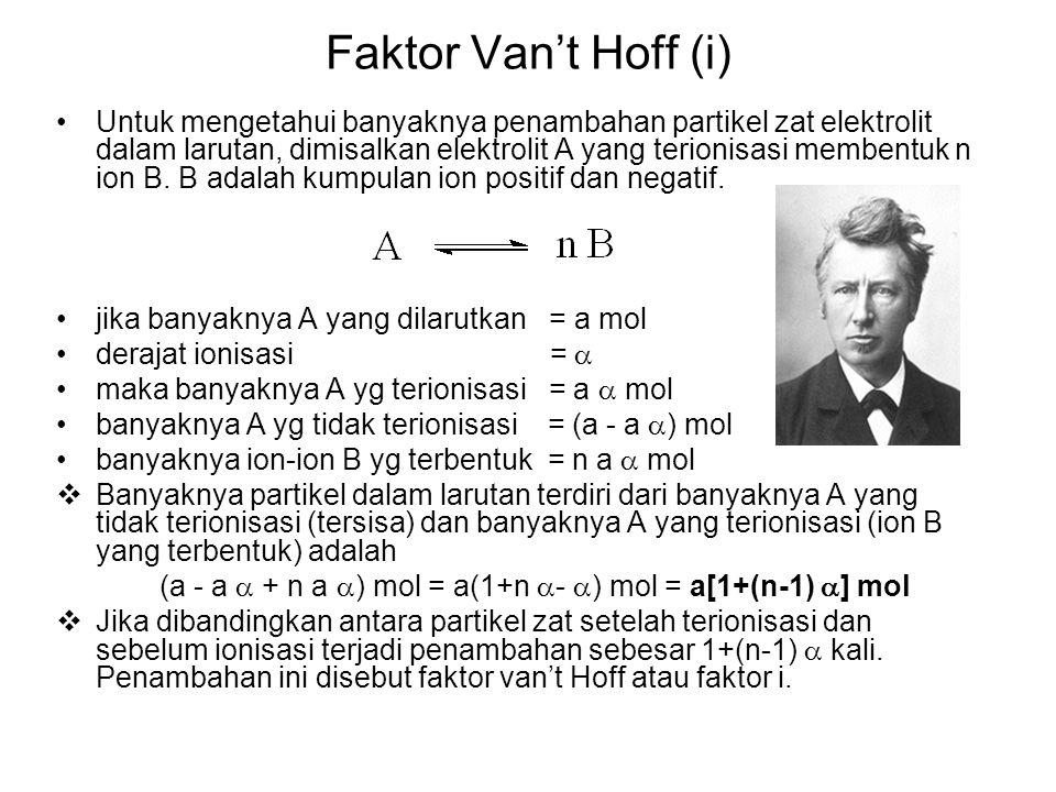 Faktor Van't Hoff (i) Untuk mengetahui banyaknya penambahan partikel zat elektrolit dalam larutan, dimisalkan elektrolit A yang terionisasi membentuk n ion B.