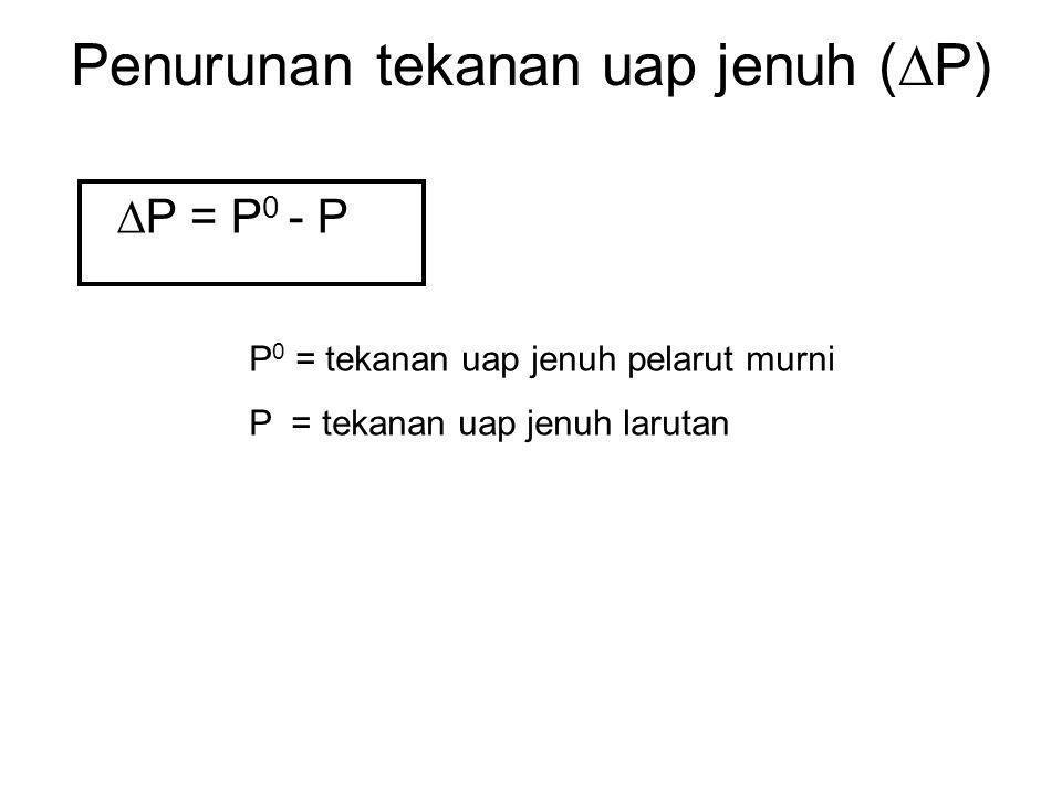 Penurunan tekanan uap jenuh (  P)  P = P 0 - P P 0 = tekanan uap jenuh pelarut murni P = tekanan uap jenuh larutan
