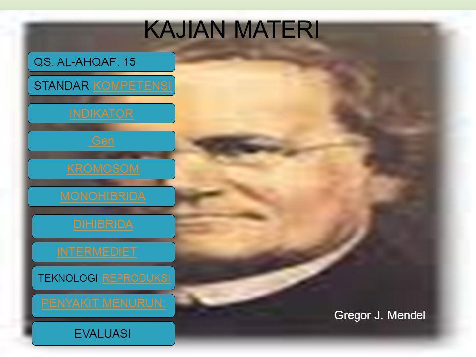 Gen KROMOSOM MONOHIBRIDA DIHIBRIDA INTERMEDIET PENYAKIT MENURUN: KAJIAN MATERI Gregor J.
